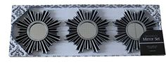 3 Piece Decorative Mirror Set, Wall Accent Display (Black Silver) *** You can get additional details at the image link.