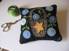 Blue Flowers in Basket Pincushion Wool Applique by fisheyeprims, $18.50
