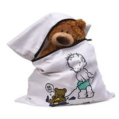 When you're doing your housecleaning, don't overlook Teddy and his buddies. Teddy Needs A Bath brings stuffed animals through the washer and dryer clean as new and looking fresh – and safe from dust mites. The 100% cotton bag keeps well-loved animals from snagging or becoming misshapen during washing.  BEAR NOT INCLUDED http://toyjunkie.org
