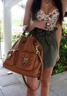 Wheretoget - White floral corset top, khaki bow skirt and brown leather oversized handbag