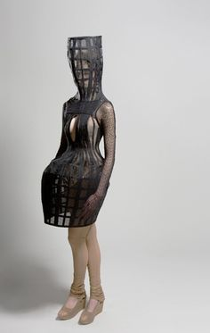 Cage Dress with exaggerated proportions; avant garde fashion; sculptural fashion // Ara Jo