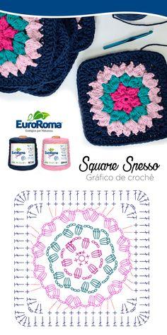 Square de Crochê utilizando o EuroRoma Spesso nas cores Azul Petróleo, Rosa Bebê, Pink e Verde Água Claro.