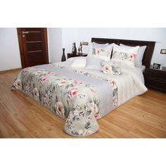 Smotanový prehoz na posteľ s motívom bilycha  ružových ruží