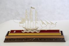 Miniature of Phinisi, Indonesian traditional sailing ship.
