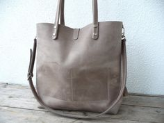 Leather bag, large leather bag, big leather bag, leather bag woman, leather bag women, modern laptop bag, Enie frontpocket - mud-grey! by SanumiLeatherGoods