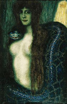 Franz von Stuck (German, 1863-1928). Die Sünde (Sin), ca. 1908. Charles and Emma Frye Collection, 1952.169