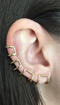 Cage Ear Cuff in Gold - Right Ear