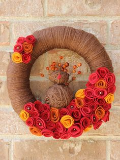 Thanksgiving Turkey Yarn Wreath Brown Red Gold by TheLandofCraft | https://www.etsy.com/listing/164404600/thanksgiving-turkey-yarn-wreath-brown?ref=shop_home_active | #wreath #thanksgiving #crafts