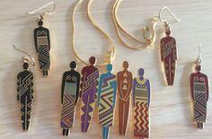 """""""Tribe"""" Laurel Burch Red & Black 22KT GP 2 Pair Earrings!   &  Brooch / Pin Set #LaurelBurch"""