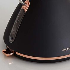 Rose Gold trims and details surround the new Accents Rose Gold kettle in black, model 102107 Cord Storage, Hand Blender, Black Accents, Beautiful Roses, Kettle, Coffee Cups, Color Schemes, Rose Gold, Traditional