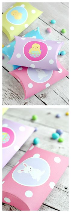 Cute Easter Pillow Boxes! Just print, cut out and fold
