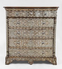 Syrian Mother of Pearl Inlaid Chest of Drawers
