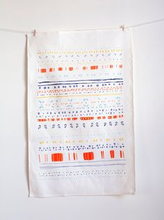 Neon Summer Tea Towel // Warm edition. $22.00, via Etsy.