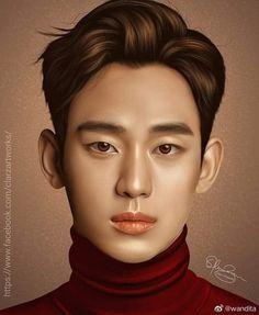 Bello ❤ #KimSooHyun Korean Actors, Smudging, Close Up, Digital Art, Photoshop, Artwork, Shots, Painting, Kpop