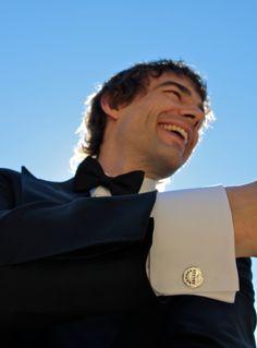 actor Chris Gorham from Covert Affairs sporting his Caliber Collection steel cufflinks