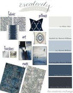 Layering shades of black, indigo and warm gray paint colors and accessories. The Creativity Exchange Great inspiration and ideas for working in indigo, black and gray into your home decor. Use our design board with specific paint colors and accessories. Warm Gray Paint, Grey Paint Colors, Paint Colors For Home, House Colors, Blue Gray Paint, Color Schemes With Gray, Paint Color Schemes, Black Colors, Warm Grey