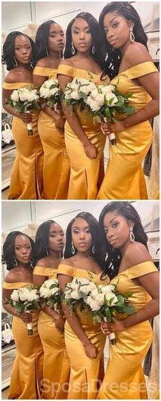 Off Shoulder Yellow Side Slit Mermaid Cheap Long Cheap Bridesmaid Dresses Online, WG667#bridesmaids #bridesmaiddress #bridesmaiddresses #dressesformaidofhonor #weddingparty #2020bridesmaiddresses