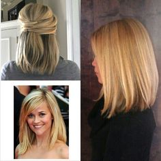 Short-medium straight hairstyles I love the hairstyle on the far right. SO much volume!