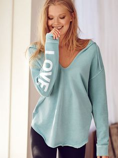 Gotta love a cozy fleece sweatshirt—especially one that lets you wear your heart on your sleeve.   Victoria's Secret Oversized V-neck Tunic