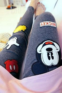 Gray/Black Thicken Mickey Leggings