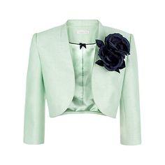 Buy Jacques Vert Corsage Trim Bolero Jacket, Light Green Online at johnlewis.com