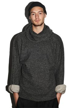 Men's sweater with scarf dark grey loose fit by MLTVclothing.