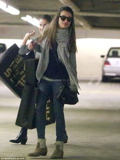 Make-up free Lea Michele looks radiant as she goes shopping following her relaxing spa session