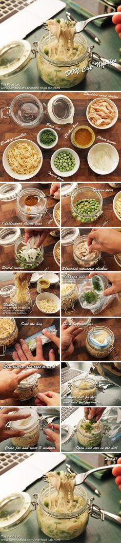 "Heard of the salads in a jar, haven't seen this yet. ""Chicken and Dill DIY Noodles 