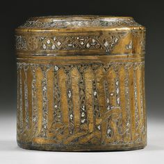 A Mamluk silver-inlaid brass pyxis, Syria or Egypt, 14th century | Lot | Sotheby's