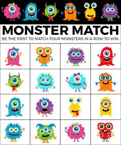 This monster match game is one of the best Halloween bingo games! Simply print out the Halloween bingo cards and play at a Halloween party! Monster Games For Kids, Monster Party Games, Bingo Games For Kids, Monster Activities, Monster Crafts, Monster Birthday Parties, Free Games, Halloween Bingo Cards, Classroom Halloween Party