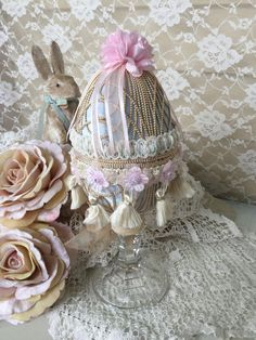Victorian velvet Easter Egg Ornament Shabby Chic by Fannypippin