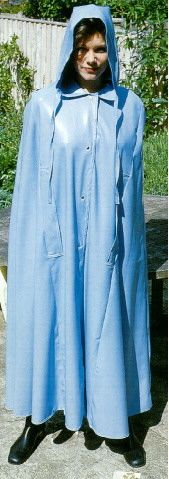 Full protection of a beautiful powder blue latex cape.