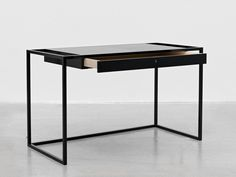 'verk' 750 H x 1250 W x 60D cm (295 H x 492 W x 23 D inches) a drawer is elongated, creating 'verk', a desk which puts the moving element in focus, as it is lifted and framed by lacquered steel legs proportionally too thin for the large volume. it is through this design that the drawer becomes the desk. http://www.snickeriet.com/