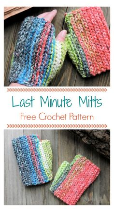 Crochet Gift Ideas Last Minute Fingerless Hopscotch Mitts CrochetKim Free Crochet Pattern Crochet Fingerless Gloves Free Pattern, Crochet Mitts, Fingerless Mitts, Mittens Pattern, Free Crochet, Knit Dishcloth, Crochet Wrist Warmers, Hand Warmers, Crochet Designs