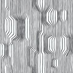 """""""Frekvenssi""""- I loved our old black and white wallpaper so much we had to do it again with this contemporary Marimekko pattern. Marimekko Wallpaper, Of Wallpaper, Pattern Wallpaper, Wallpaper Online, Marimekko Fabric, Bedroom Wallpaper, Geometric Wallpaper, Designer Wallpaper, Line Patterns"""