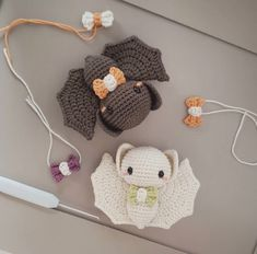 Adorable bat halloween amigurumi crochet toy 🦇 🦇 I N K Y & E C H O 🦇 🦇 . My chubby little bat babies. Aren't they just adorable? I finished tweaking their pattern this… Crochet Bat, Kawaii Crochet, Quick Crochet, Cute Crochet, Crochet Animals, Crochet Crafts, Yarn Crafts, Crochet Toys, Crochet Projects
