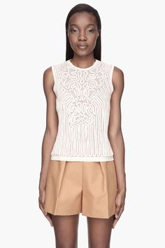 CARVEN Cream and beige Knit Rope Tank top