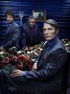 Hannibal, starring Hugh Dancy, Mads Mikkelsen, and Laurence Fishburne.