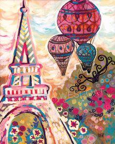 Chic PARIS France Eiffel Tower Ballons Sur Paris by wescoatart, $30.00
