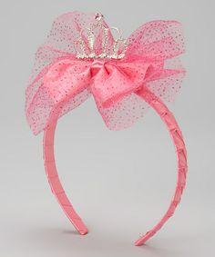 Fuchsia Glitter Tiara Bow Headband