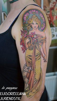 alphonse mucha art nouveau jugendstil tattoo