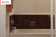 Before and After: An Ingenious Fix for Ugly Rental Bathroom Tiles