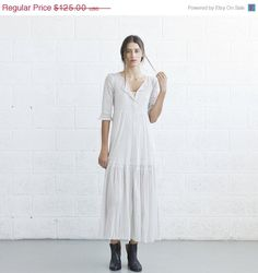 ON SALE Winter SaleIvory Sheer Boho Dress with slip by naftul, $106.25