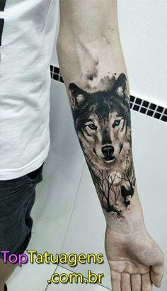 Wolf tattoo by Marciel da Silva, Gaspar, SC. - Wolf tattoo by Marciel da Silva, Gaspar, SC. Wolf Tattoo Forearm, Wolf Tattoo Sleeve, Cool Forearm Tattoos, Body Art Tattoos, Sleeve Tattoos, Tattoo Art, Tattoo Wolf, Tatoos, Man Arm Tattoo
