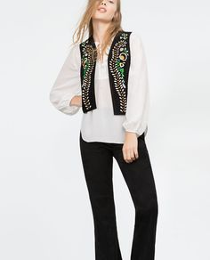 Image 2 of EMBROIDERED LEATHER WAISTCOAT from Zara