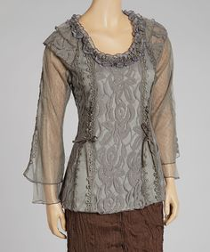 Look what I found on #zulily! Pretty Angel Gray Waved Lace Linen-Blend Top - Women by Pretty Angel #zulilyfinds