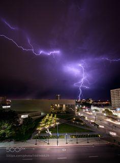 The Skies Open Up by irockutah  city urban lightning storm stormy thunder bolt saltlakecity Salt Lake City Downtown UT UTAH SLC Down