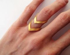 Gold chevron ring - 24K gold plated bronze ring -  statement ring - gold statement ring -