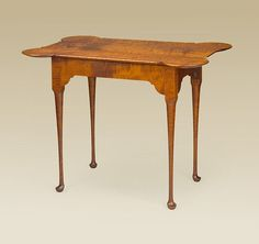 Porringer Tea Table - Tiger Maple Wood - Queen Anne - Traditional - Side - Stand #QueenAnne