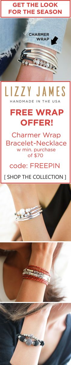 "Lizzy James Jewelry is running a free wrap bracelet offer, with a minimum purchase of $70. This free ""Charmer"" wrap bracelet can also be worn as a necklace for 2 styles in 1 piece functionality. Handcrafted in the USA Lizzy James also designs Chokers, Anklets, Sterling Silver rings, Earrings and more!"